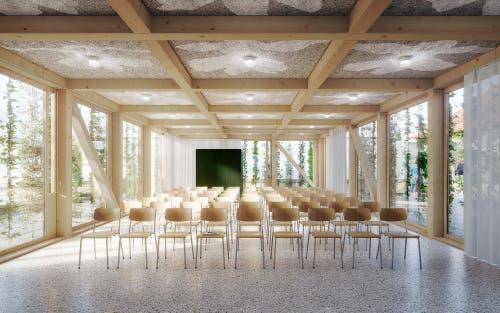 Im Inneren des neuen Vortragsraums: Der Holzkubus überzeugt durch seine filigrane Konstruktion und viel Licht, das durch grosse Fenster fällt. (Illustration: Stadt St.Gallen)