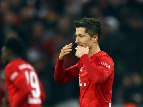 Robert Lewandowski und seine Teamkollegen feierten einen Kantersieg gegen Dortmund (Bild: KEYSTONE/AP/MATTHIAS SCHRADER)