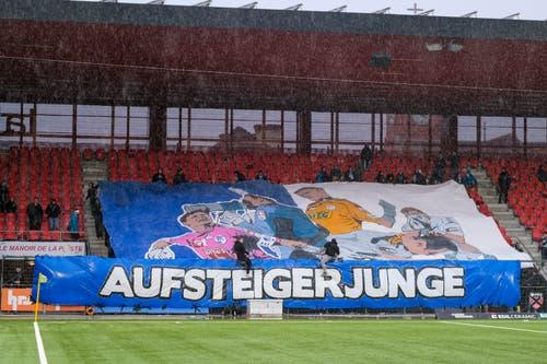 (nicht bewertbar: Olivier Custodio). Auf dem Bild: Choreographie der FCL-Fans zum 500. Spiel von David Zibung. (Bild: Martin Meienberger / Freshfocus)