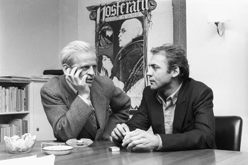 Klaus Kinsky und Bruno Ganz am 14. Februar 1979 anlässlich der Pressevisionierung für den Film «Nosferatu». (Bild: Keystone)