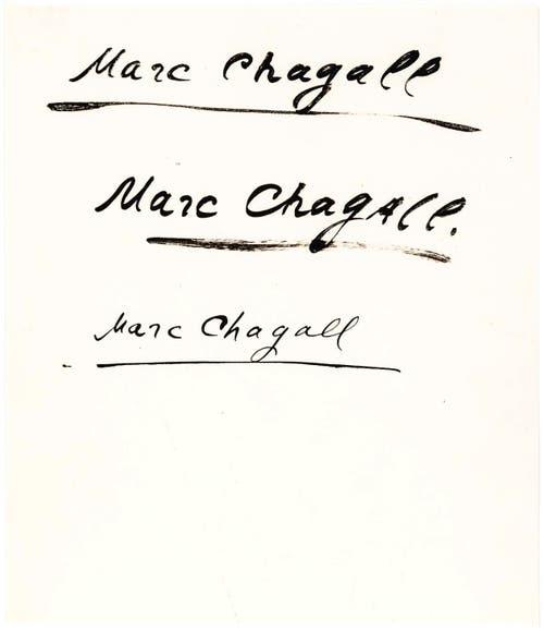 Von Maler Marc Chagall. (Bilder: Lion Heart Autographs, New York)