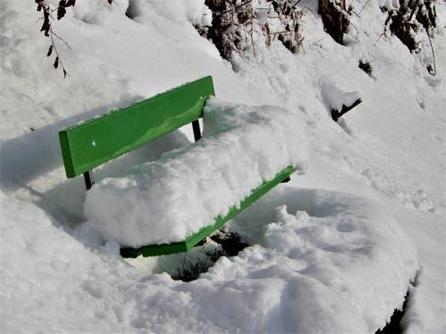 """""""Tempi passati""""; So viel Schnee, es war unglaublich schön, auf dem Weg der Megger-Höhen ! (Bild: Margrith Imhof-Röthlin, Meggen, 4. Februar 2019)"""