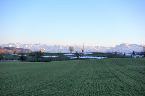 Fernsicht in die Berge, mit Turm der Stiftskirche Beromünster, vom Riedhof gesehen. (Bild: Josef Habermacher, Gunzwil, 18. Februar 2019)