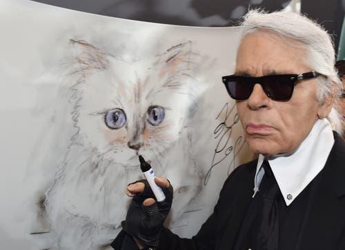 Karl Lagerfeld steht 2015 bei der Vernissage «Corsa Karl und Choupette» für seinen Fotokalender an einer Zeichnung seiner Birma-Katze. (Bild: Jens Kalaene / Keystone)