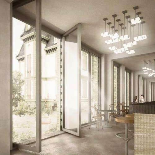 Im Erdgeschoss des Bürohauses könnte eine öffentliche Nutzung untergebracht werden. Für die Architekten wäre ein Restaurant eine gute Möglichkeit. (Illustration: PD/HRS Real Estate AG)