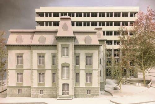 So soll die sanierte Villa mit dem Büroneubau dahinter dereinst von der Rosenbergstrasse her aussehen. (Illustration: PD/HRS Real Estate AG)