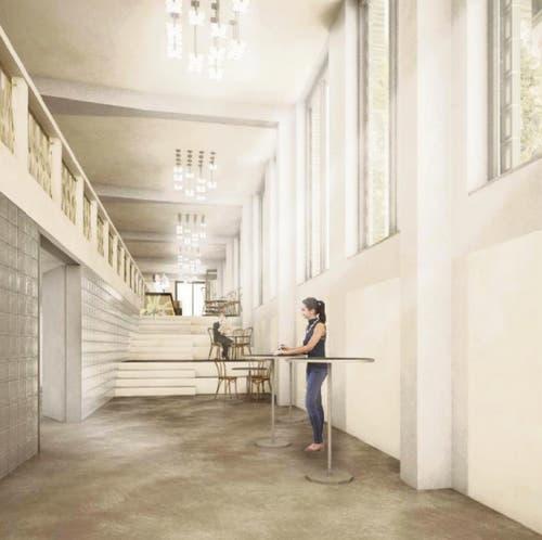 Im Inneren des Bürohauses müsste der Niveauunterschied im Gelände ausgeglichen werden. Die Architekten stellen sich eine Treppe zwischen Unter- und Restaurant im Erdgeschoss vor. (Illustration: PD/HRS Real Estate AG)
