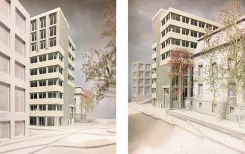 Die östliche, untere Seite des Büroneubaus an der Grünbergstrasse. (Illustration: PD/HRS Real Estate AG)