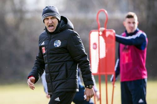 Der neue FCL-Trainer Thomas Häberli bei seinem ersten Arbeitstag. (Bild: KEYSTONE/Alexandra Wey)