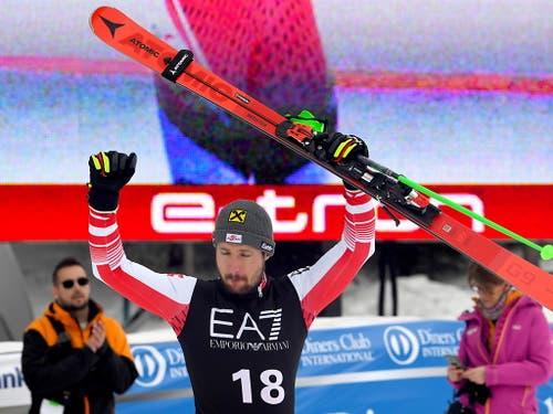 Marcel Hirscher war für einmal auch mit Platz 2 zufrieden (Bild: KEYSTONE/EPA/GEORGI LICOVSKI)