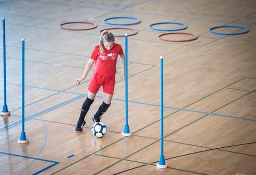 Keine Olympischen Ringe, aber ein interessanter Parcours für die Mädchen. (Bild: Reto Martin)