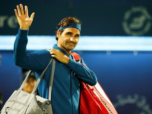 Nach einem Monat Absenz von der ATP-Tour begrüsst Roger Federer die Fans in Dubai (Bild: KEYSTONE/EPA/ALI HAIDER)