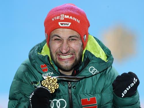 Skispringer Markus Eisenbichler gewann schon zweimal Gold und könnte zum König von Seefeld avancieren (Bild: KEYSTONE/APA/APA/GEORG HOCHMUTH)