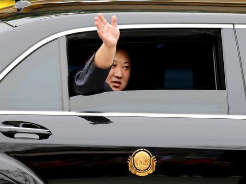 Der nordkoreanische Diktator Kim Jong Un ist am Dienstag in Hanoi angekommen, um dort den amerikanischen Präsidenten Donald Trump zu treffen. (Bild: KEYSTONE/AP/MINH HOANG)