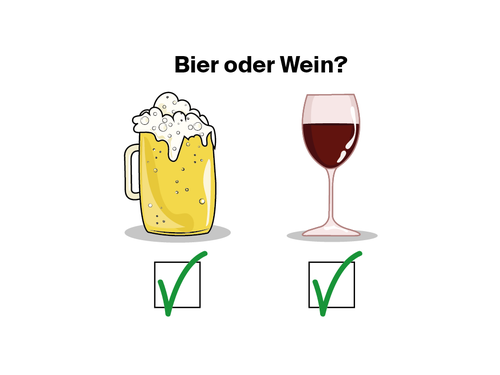 Zuerst Bier, dann Wein.