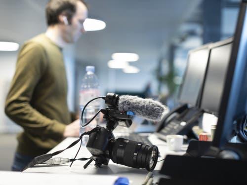Video-Desk am neuen Sitz von Keystone-SDA in Bern. (Bild: Keystone/GAETAN BALLY)