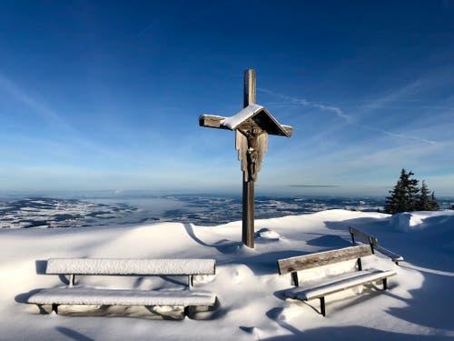 Wunderbare Winterstimmung auf Rigi Staffelhöhe. (Bild: Markus Brülhart, 8. Februar 2019)