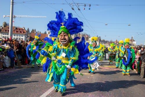 Farbenprächtig, dieses Sujet der Guuggenmusig Cocoschüttler «Samba do Brasil»- aufgenommen von Leserin Susanne Mattmann.