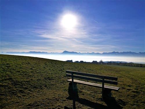 Ruhebänkli mit Aussicht auf die Berge, bei strahlendem Sonnenschein und wenig Dunst. (Bild: Urs Gutfleisch, Römerswil, 27. Februar 2019)