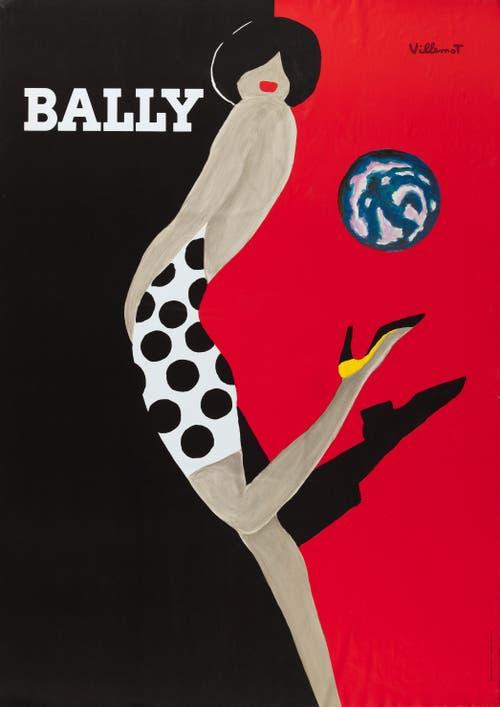 """Museum für Gestaltung: Ausstellung """"Bally – Swiss Shoes Since 1851"""". Bernard Villemot, Bally – La mappemonde, 1988, ©Bally Schuhfabriken AG"""