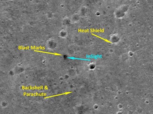 Die Aufnahme der Berner Mars-Kamera CaSSIS zeigt die Landezone des NASA-Landers «InSight». Das Bild umfasst eine Fläche von 2,25 mal 2,25 Kilometern in der Ebene Elysium Planitia nördlich des Mars-Äquators. (Bild: ESA/Roskosmos/CaSSIS)