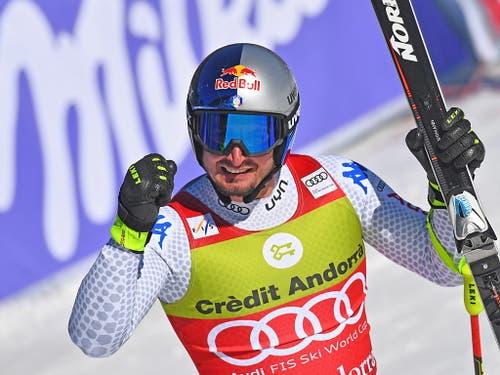 Der Südtiroler sieht im Ziel die «1» aufleuchten und ballt die Faust (Bild: KEYSTONE/EPA/CHRISTIAN BRUNA)