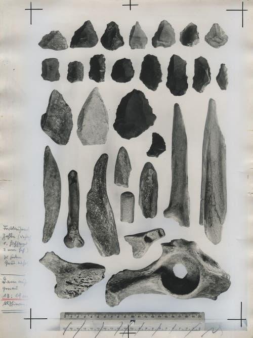 Prähistorische Werkzeuge, Fundort: Wildenmannlisloch.