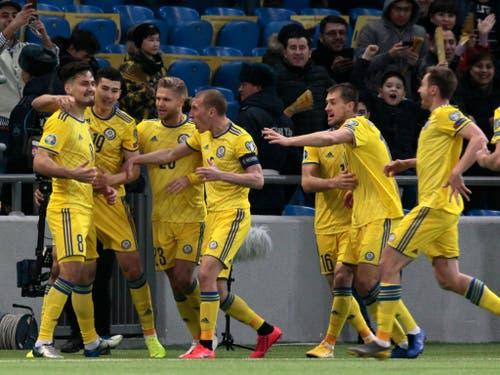 Die Georgier wittern auch wegen dem 3:0-Sieg von Kasachstan gegen Schottland am Donnerstag ihre Erfolgschancen - gegen Kasachstan hat Georgien in der Nations League zweimal gewonnen (Bild: KEYSTONE/AP/ALEXEI FILIPPOV)