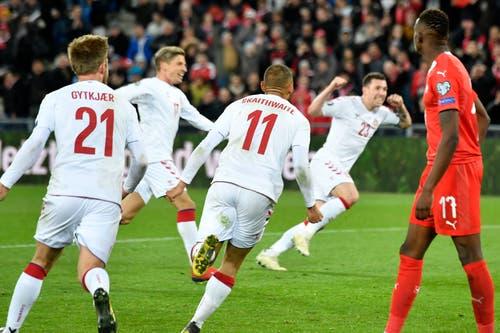 3:3 durch Dalsgaard in der 93. Minute. (Bild: Walter Bieri / Keystone, Basel, 26. März 2019)