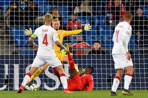 3:0 für die Schweiz: Breel Embolo trifft. (Bild: Walter Bieri / Keystone, Basel, 26. März 2019)