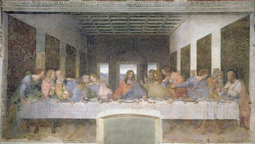 Leonardo da Vinci, Das letzte Abendmahl, 1495-1497, Fresko (Bridgeman Images)