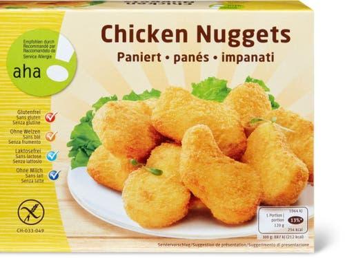 Trotz gegenteiliger Angaben auf der Verpackung können diese Chicken Nuggets Weizen oder Gluten enthalten. (Bild: Migros)