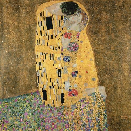 Gustav Klimt, «Der Kuss», 1907/08, Öl, Silber- und Goldauflagen auf Leinwand (Bridgeman Images)