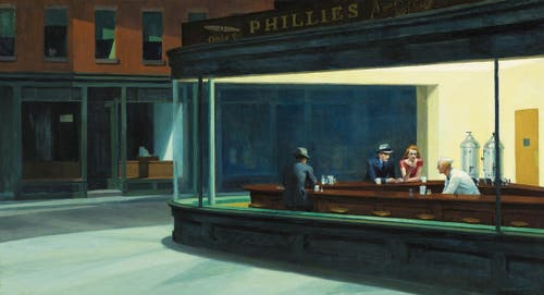 Edward Hopper, «Nachtschwärmer», 1942, Öl auf Leinwand