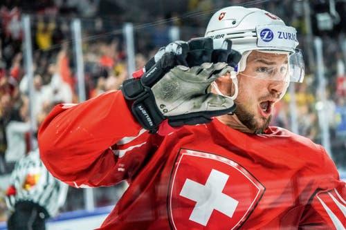 3. Preis Sport: Tristan Scherwey jubelt nach dem 1:0 an der WM gegen Kanada. (Bild: Andy Müller / Freshfocus)
