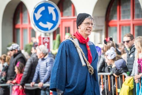 Fasnachtsumzug Frauenfeld, Stadtpräsident Anders Stokholm ist bei der Karawartschler Gruppe Frauenfeld mitdabei. (Bild: Andrea Stalder)