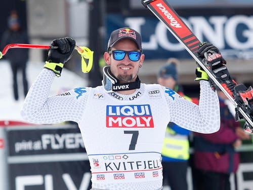 Wählte wie tags zuvor in der Abfahrt die Startnummer 7 und gewann auch den Super-G in Kvitfjell: der Südtiroler Dominik Paris (Bild: KEYSTONE/EPA NTB SCANPIX/TERJE BENDIKSBY)