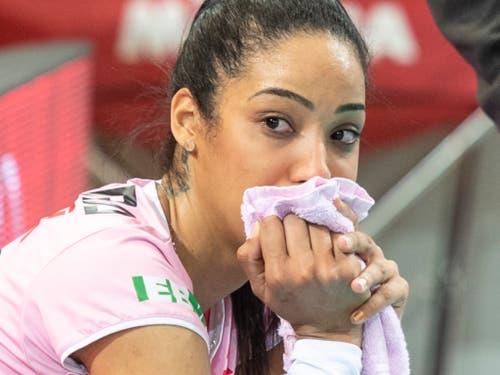 Enttäuschung im Gesicht von Aesch-Pfeffingens Jessica Ventura nach der Niederlage (Bild: KEYSTONE/ADRIEN PERRITAZ)