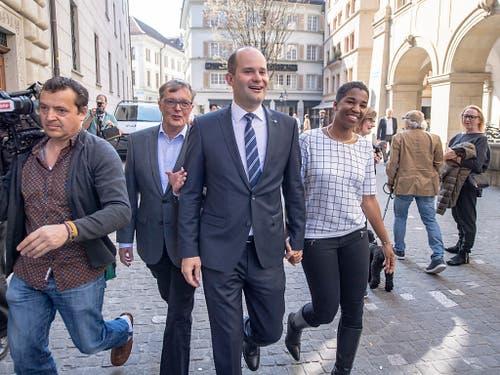 Fabian Peter konnte am Sonntag den freiwerdenden FDP-Sitz verteidigen. (Bild: KEYSTONE/URS FLUEELER)
