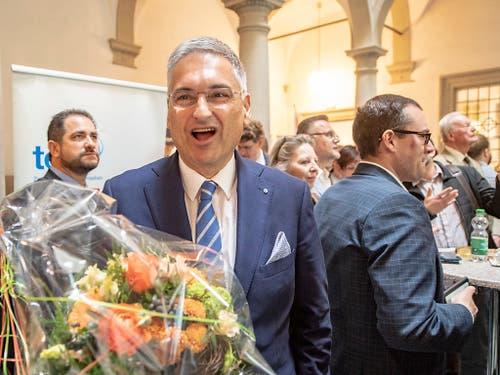 Er durfte sich freuen: Gesundheitsdirektor Guido Graf (CVP) erzielte am Sonntag das beste Resultat aller Kandidaten. (Bild: KEYSTONE/URS FLUEELER)