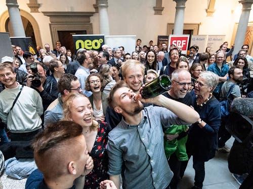 Die Grünen hatten am Sonntag in Luzern allen Grund zum Feiern. (Bild: KEYSTONE/URS FLUEELER)