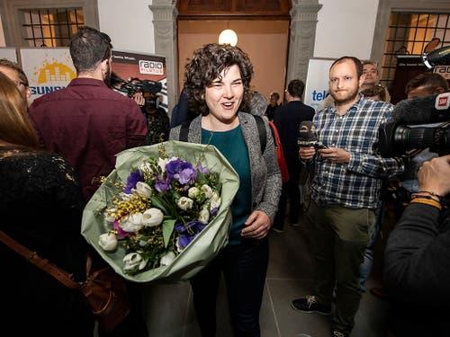 Die Regierungsratskandidatin der Grünen, Korintha Bärtsch, überraschte bei den Wahlen in Luzern mit dem fünftbesten Resultat. (Bild: KEYSTONE/URS FLUEELER)