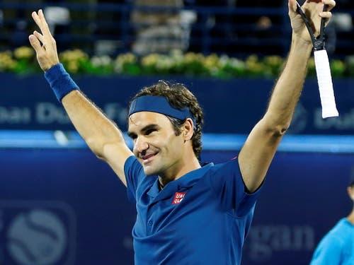 Eine Erlösung: Roger Federer jubelt nach dem verwerteten Matchball (Bild: KEYSTONE/EPA/ALI HAIDER)