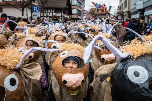 Kinderumzug Räbefasnacht Baar 2019. (Bild: Christian H. Hildebrand, Baar, 4. März 2019)