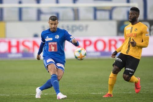 Lucas Alves, Innenverteidigung, 3,5 Eigentlich ist er in der Luft eine Macht, diesmal hat er gegen Nsame das Nachsehen. Verliert auch vor dem 1:3 das Kopfballduell. (Bild: Boris Bürgisser, Luzern, 10. April 2019)