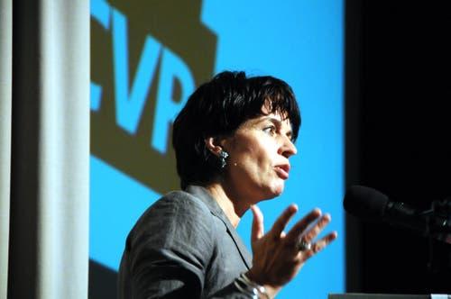 Doris Leuthard sprach in Sarnen auf Einladung der CVP Obwalden über die künftige Energiepoliti. (Bild Markus von Rotz, 28. September 2011