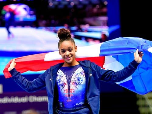 Mélanie de Jesus dos Santos war die erfolgreichste Athletin in Stettin und sicherte sich nach Gold im Mehrkampf auch den Titel am Boden (Bild: KEYSTONE/EPA PAP/MARCIN BIELECKI)