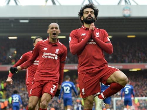 Das Anfield-Stadion bebt nach dem 2:0, Torschütze Mohamed Salah ruht (Bild: KEYSTONE/EPA/PETER POWELL)