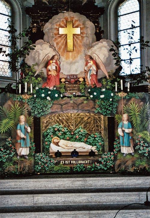 Zum fünften Mal seit der Wiederentdeckung vor 25 Jahren wird in der Kirche Kobelwald von Karfreitag bis Ostermontag die Kulissengrabanlage aus dem Jahr 1883 ausgestellt. (Bild: Bilder: Ruedi Loher)