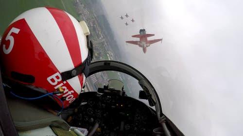 Training der Patrouille Suisse über Emmen. (Bild: Luftwaffe, 12. April 2019)